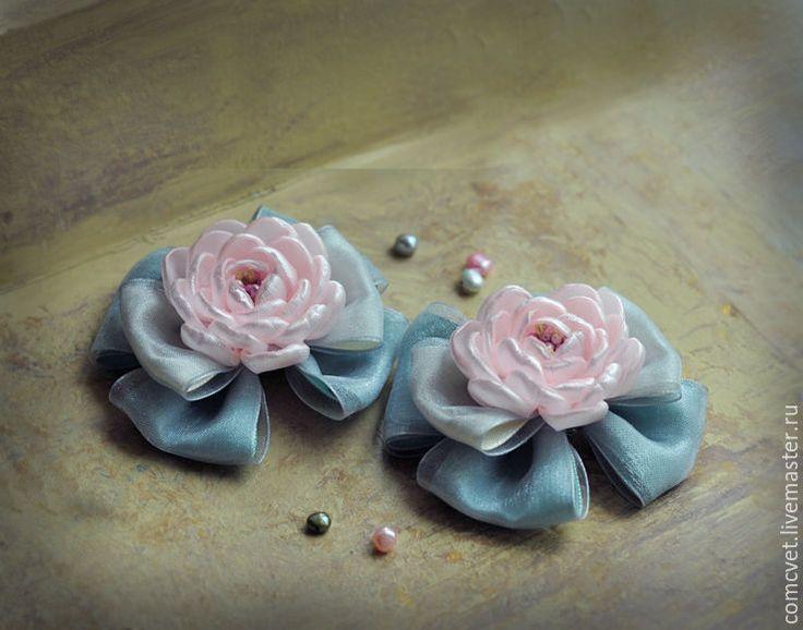 """Купить Резинки для волос """"Мятно-розовые"""" - мятный, мятно-розовый, украшения ручной работы"""