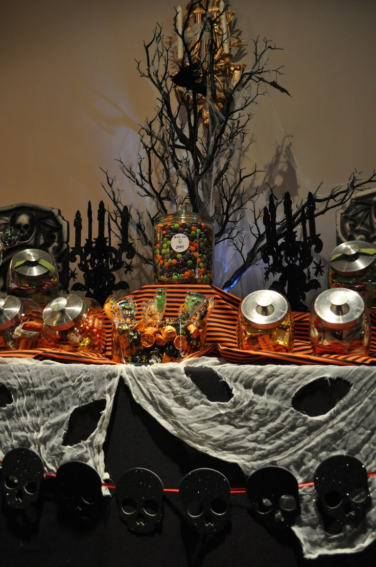 Halloween candy buffet with candelabras