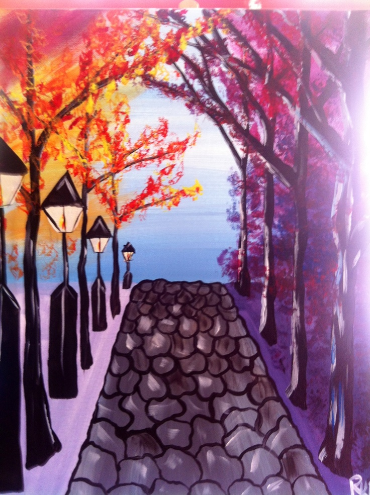 Paintings Of Cobblestone Paths : Best images about fall paintings on pinterest
