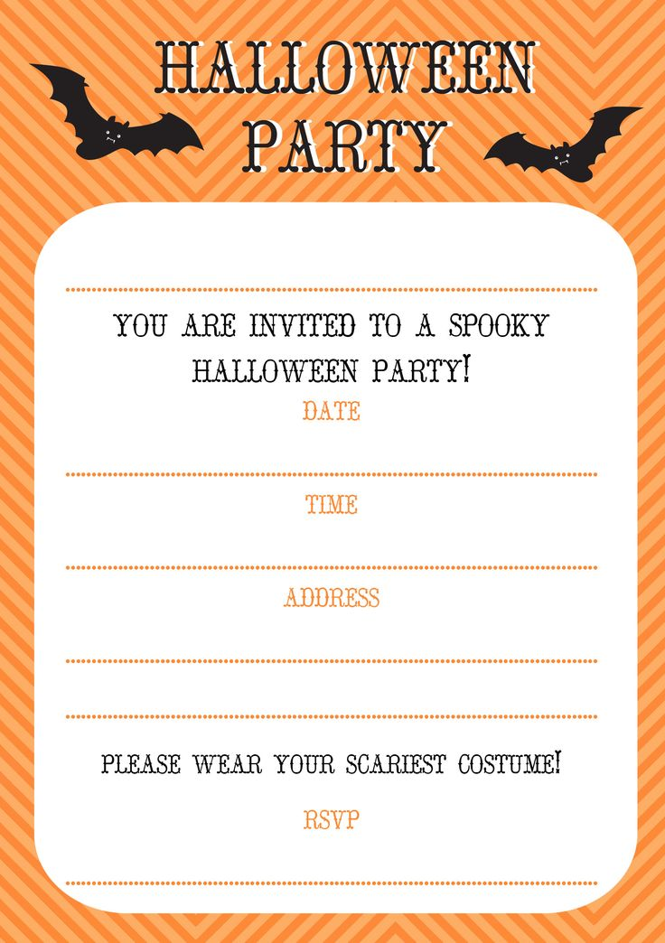 Free Printable Halloween Themed Birthday Party Invitations ...