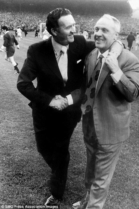 (L-R) Celtic manager Jock Stein renews his acquaintance with Liverpool manager Bill Shankly before the match