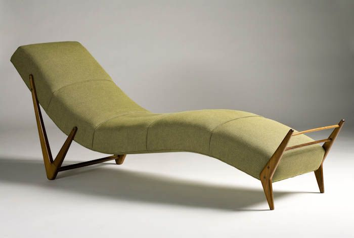 Giuseppe Scapinelli's (a Furniture Maker And Retailer Of Italian Origin) Olive Green Chaise Longue