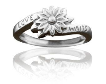 Girls Purity Ring Sterling Silver Love Waits Flower