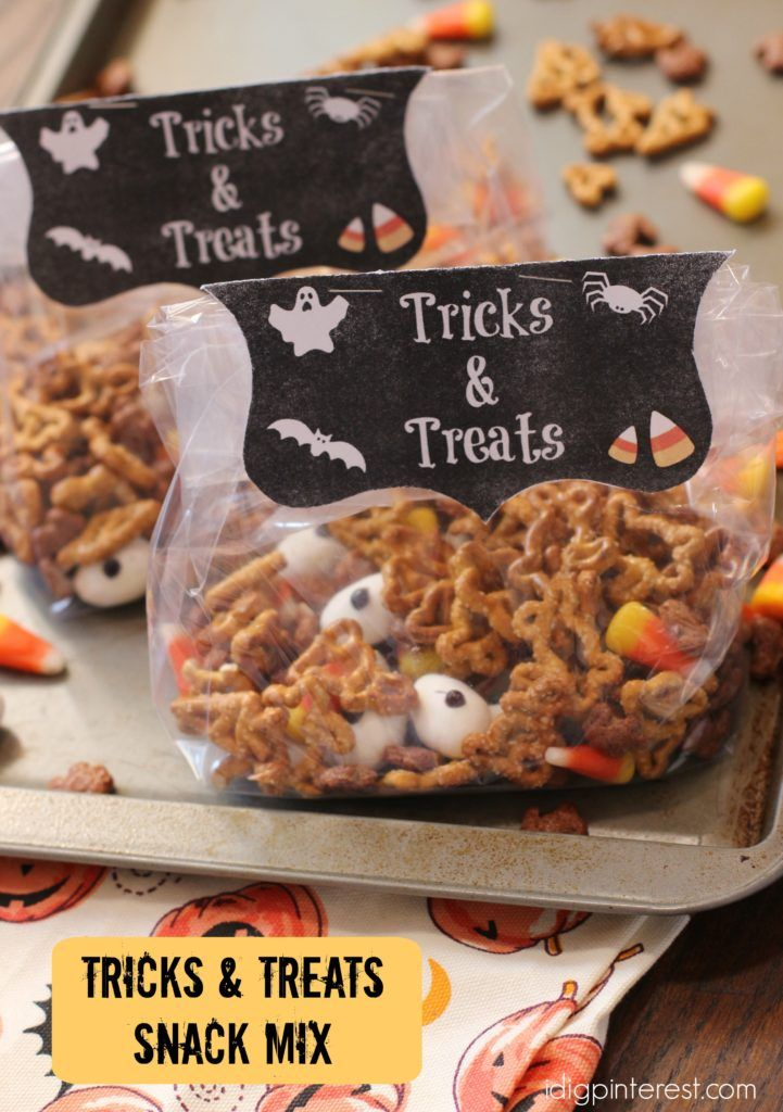 Tricks and Treats Snack Mix. OCTOBER 13, 2016 (EDIT) TRICKS AND TREATS HALLOWEEN SNACK MIX 11 75 Surprise the kids with this fun and festive Halloween snack mix after school! It's loaded with tricks such as candy eyeballs and treats like Annie's pretzels, Annie's chocolate bunny cereal and candy corns! These are also perfect for parties or as classroom goodie gifts when added to cellophane treat bags and finished with the printable label!