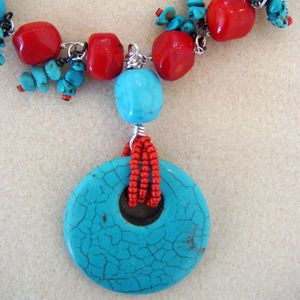 Red Coral and Turquoise with Turquoise Pendant and seed beads