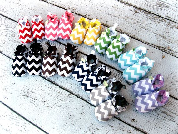 A Chevron Rainbow  You PICK color  All fabric by LittlePitterpat, $23.00 #rileyblakedesigns #chevron #babyshoes