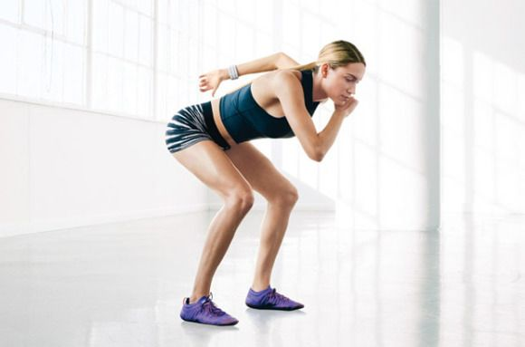 Duck and Escape: Bring right knee to chest. In one swift motion, lift left arm and pivot on left foot and right hand to flip into a supported sitting position. Extend right leg and bring left arm to chest (as shown). Lift hips to flip back over and return to start. Continue, alternating sides.