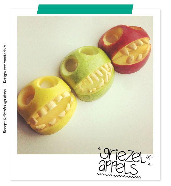 bento appels stap voor stap uitleg griezelappels voor halloween  http://www.moodkids.nl/knutselen-halloween