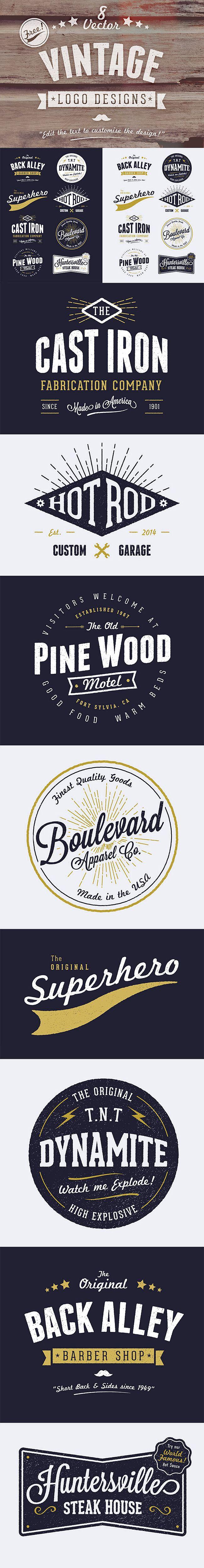 8 kostenlose Vintage-Logos als Vektordatei