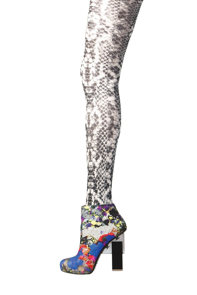 Footwear Trend: Wacky Feet  (Nicholas Kirkwood for Erdem's silk brocade bootie with acrylic heel. Hue tights.)