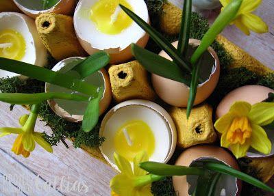 ProjectGallias:#projectgallias Easter decoration with egg shells, moss and Spring flowers, Wielkanocna dekoracja ze skorupkami, mchem i świeżymi kwiatami