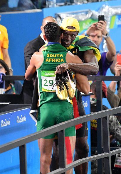 Wayde Van Niekerk of South Africa winner of the athletics 400m and Usain Bolt…