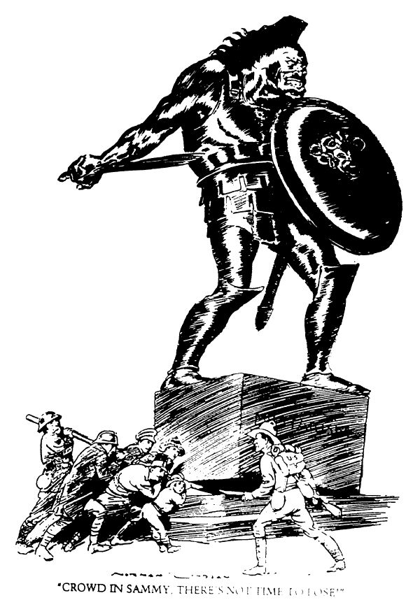 """greatwar-1914:  """"""""Crowd in Sammy. There's not much time to lose."""" In the cartoon an American joins a crowd of Allies overthrowing a statue of militarism. Sammy was Australian and British slang for an American soldier in World War One.  """""""