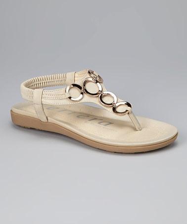 Beige Ring Sandal by Henry Ferrera