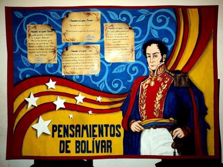 Cartelera escolar. Simón Bolívar y sus Pensamientos. Dibujo, diagramación, idea e ilustración: Kelly Carrillo Sánchez.