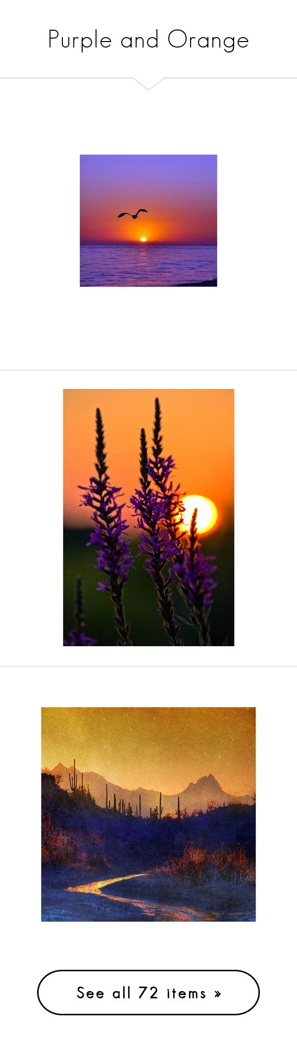 """""""Purple and Orange"""" by funkyjunkygypsy ❤ liked on Polyvore featuring home, home decor, wall art, canvas art, wall decor, landscape painting, sunset painting, canvas painting, landscape canvas wall art and landscape wall art"""