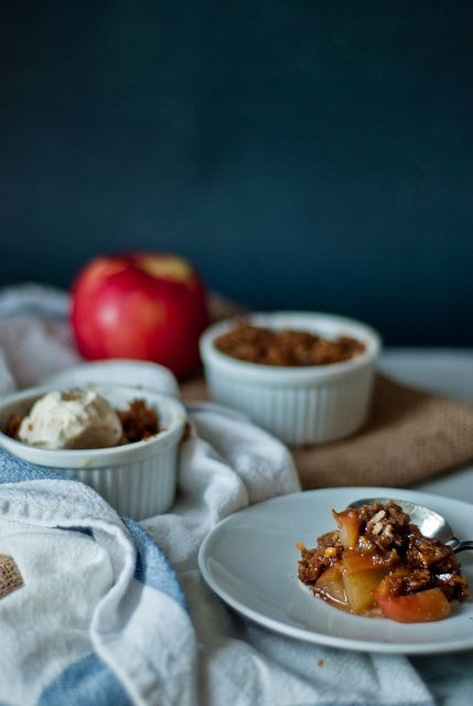 Individual-sized brown butter cheddar apple crumbles, for two! by Two ...