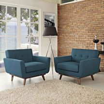 Engage Armchair Wood Set of 2 in Azure. Available on LexMod.com. Gently sloping curves and large dual cushions create a favorite lounging spot. Whether plopping down after a long day at work, settling in with coffee and brunch, or entering a spirited discussion with friends, the Engage armchair is a welcome presence in your home.