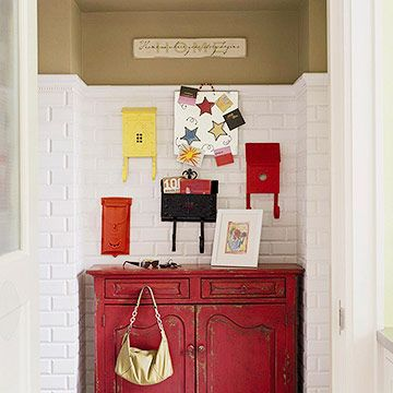 Savvy Mail Stop: White Tile, Bedrooms Storage, Mailbox Ideas, Old Mailbox, Red Dressers, Vintage Mailbox, Mail Boxes, Storage Ideas, Red Cabinets