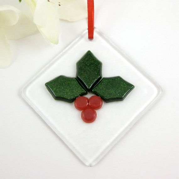 Holly Berry Christmas Ornament - Fused Glass Ornament