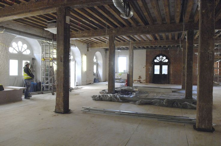 Exhibition space under construction.