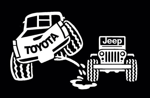 Toyota Peeing On Jeep Decal Toyota Tacoma Sticker Anti