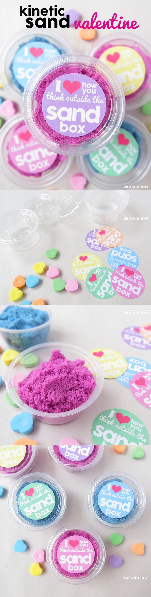DIY Kinetic Sand Valentine with printable. A fun and easy non-candy Valentine idea for kids