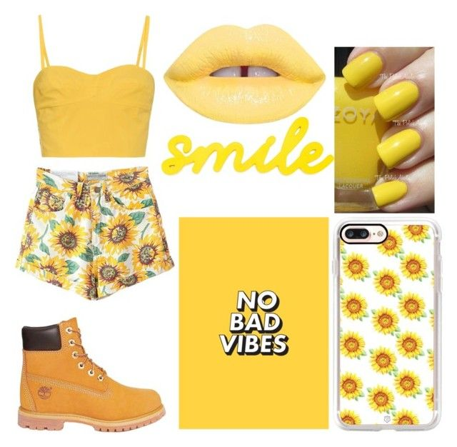 """Sunflower Babe #3"" by raineingboties on Polyvore featuring Tomas Maier, Timberland, Lime Crime, Casetify and Zoya"