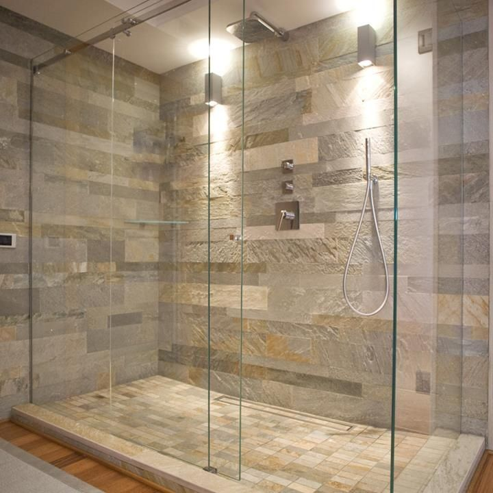 Natural Stone Wall And Glass Shower Enclosure -- General Idea Nice, I Prefer A Bit Less