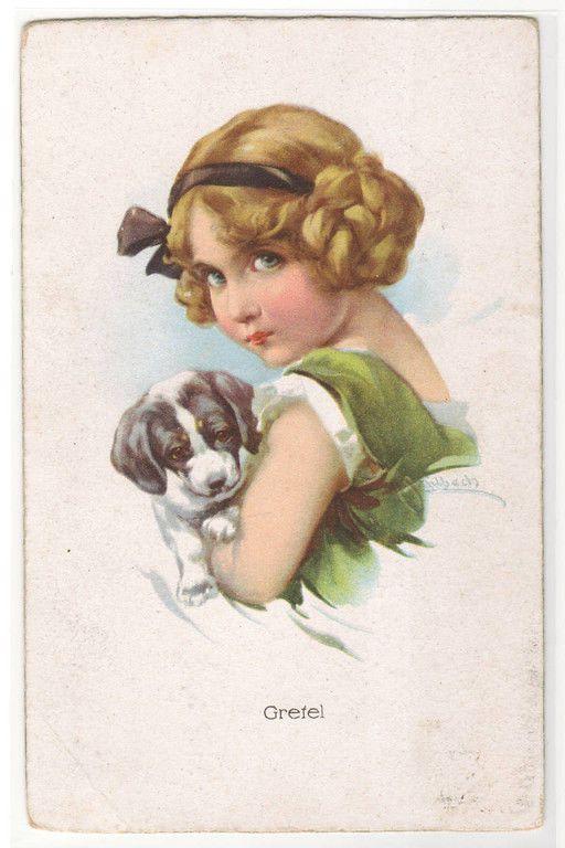 Gretel Brothers Grimm Fairy Tale Fantasy artist signed Schilbach 1910c postcard