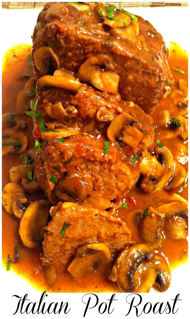 Italian Pot Roast ~ The Complete Savorist Slow cooked beef roast with Italian herbs and served with a delectable mushroom sauce