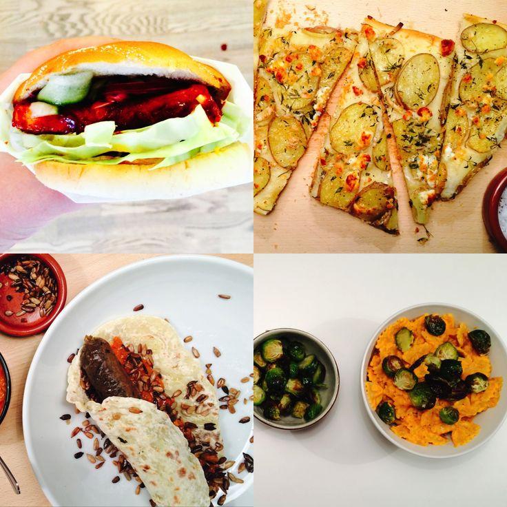 Ukemeny fra Green Bonanza med burger, pølser, pizza og pasta! Peppermyntesmoothie og bananpannekaker som dessert.