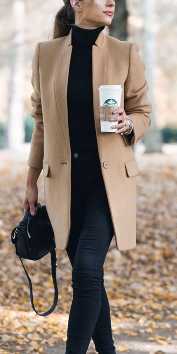 Fashion Pure Color Coats