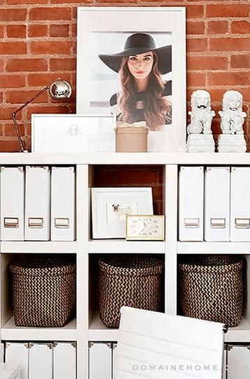 30 Home Decor Ideas from Pinterest: Chic white office organization