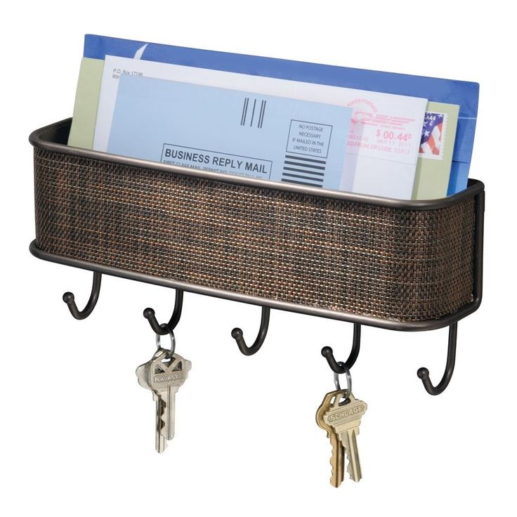 Wall Mount Mail Holder with Key Hooks - Hearts Attic
