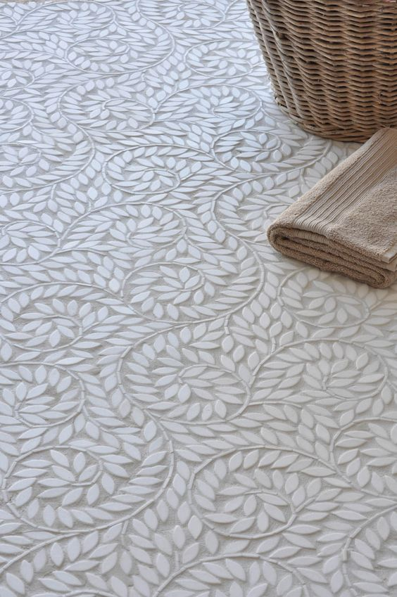 Fabulous detail for bathroom floors! The graceful olive branch pattern is mesmerising as it is stunning.