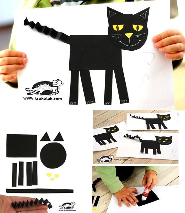 Easy cat collage from geometric shapes halloween diy kids crafts