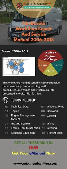 Fiat Ducato Workshop Repair And Service Manual 2006-2013. This workshop manual contains comprehensive data on repair procedures, diagnostic procedures, operations and much more, all presented in typical Fiat fashion.