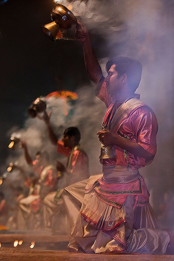 """Aarti: Hindu Ritual at Varanasi, India - Fine Art Image from the HarmonyWishes Collection/ 10"""" x 15"""" image on 13"""" x 19"""" paper"""