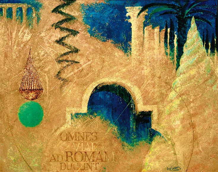 """OMNES VIAE AD ROMAM DUCUNT - ВСЕ ДОРОГИ ВЕДУТ В РИМ"" , холст, рельефная паста, акрил, золотая фольга, 170x120 см   ""OMNES VIAE AD ROMAM DUCUNT - ALL ROADS LEAD TO ROME"", canvas, relief paste, acrylic, golden foil, 170x120 cm. more - https://www.facebook.com/boris.lavrentyev/media_set?set=a.127625367266813.18605.100000580506699&type=3"