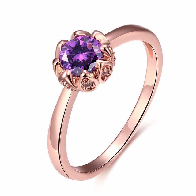 Прелести Розовое Золото Кольцо Свадебные Украшения Cristal Кольца С Фиолетовыми Камнями Для Девочек Bague Бижутерии Femme Cristaux Kzcr419