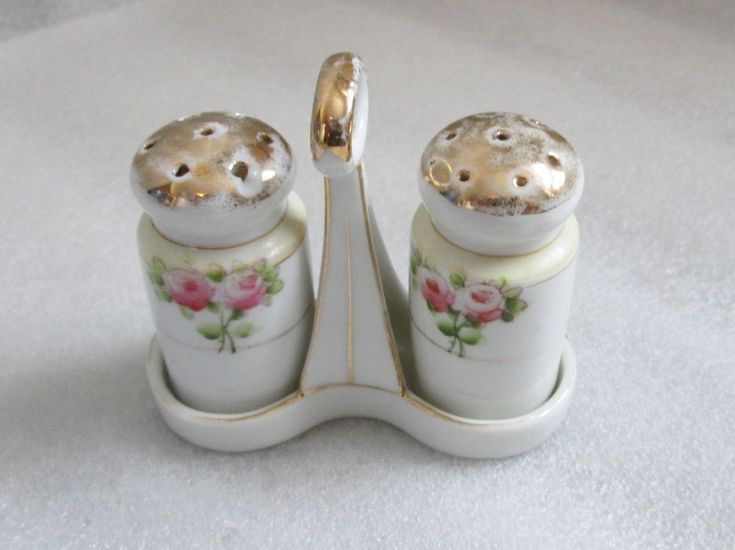 TINY MINI NIPPON Signed MARK #84 SALT & PEPPER SHAKERS w STAND VINTAGE As Found #Nippon