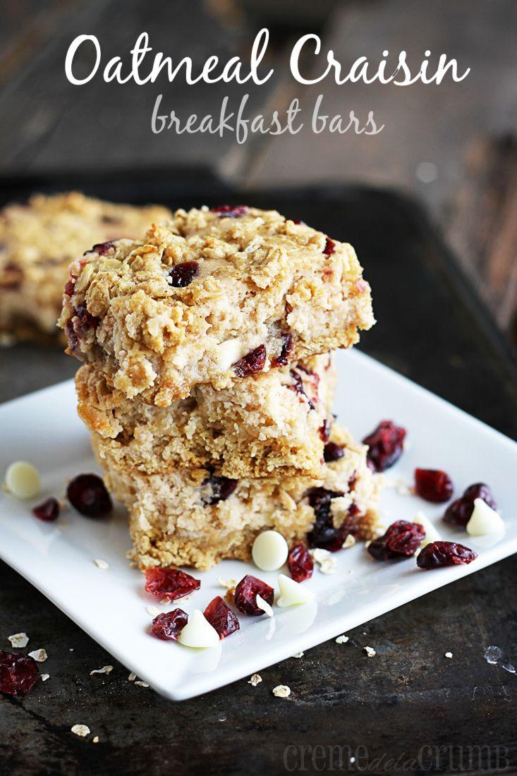 Oatmeal Craisin Breakfast Bars - Creme de la Crumb