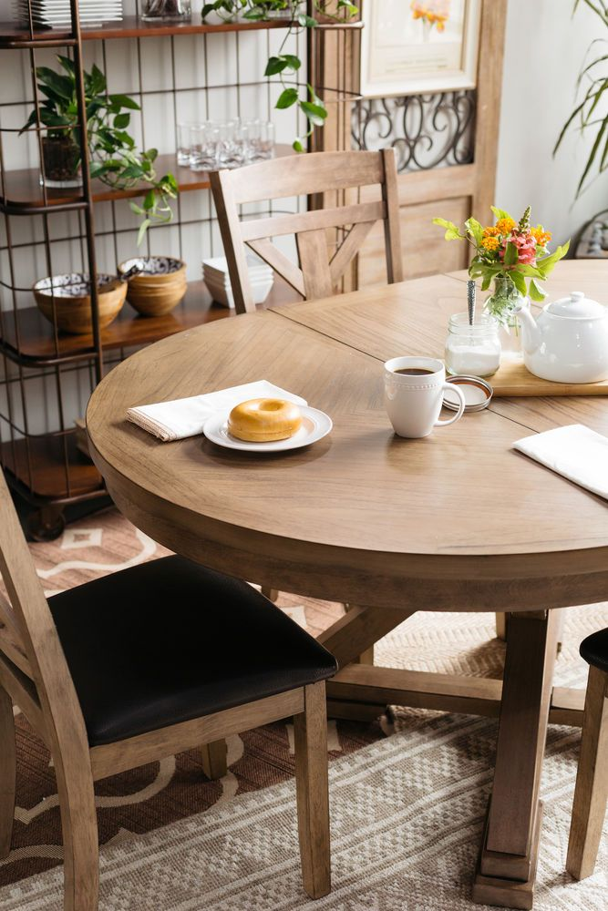 Casual 66 Expandable Round Pedestal Table In Medium Brown Dining