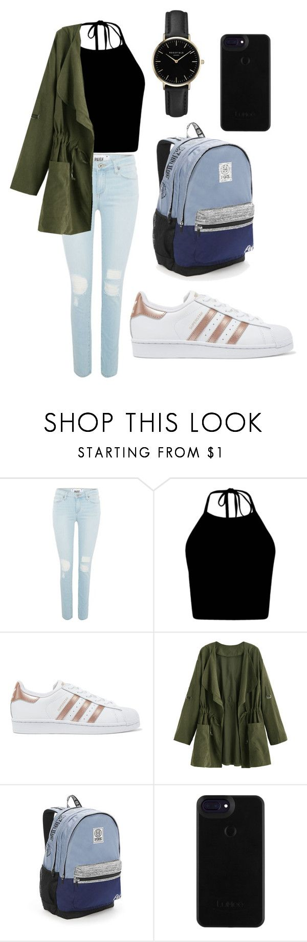 """school 101"" by fashionblogger2122 on Polyvore featuring Paige Denim, adidas Originals, Victoria's Secret and ROSEFIELD"