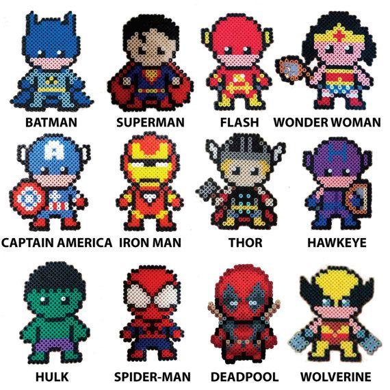 Porte clés magnet Pixel Art Super Heroes Hama Beads Perler