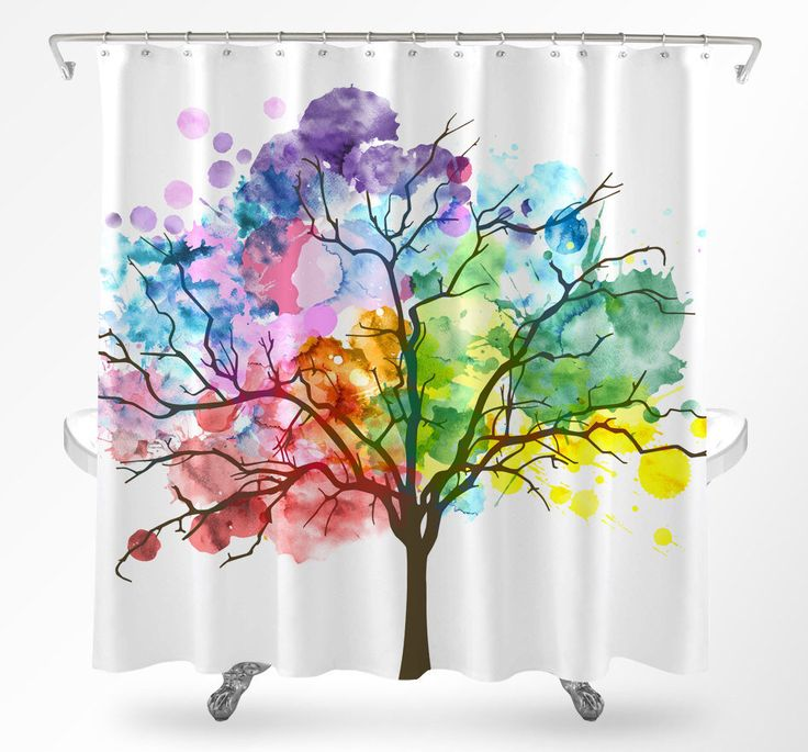 Tree Shower Curtain, Watercolor Shower Curtain, Rainbow Curtain, Nature Shower Curtain, Shower Curtain Art, Modern Shower Curtain by Loftipop on Etsy https://www.etsy.com/listing/502214944/tree-shower-curtain-watercolor-shower