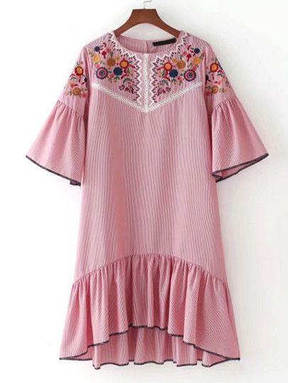 Bell Sleeve Ruffle Hem High Low Dress