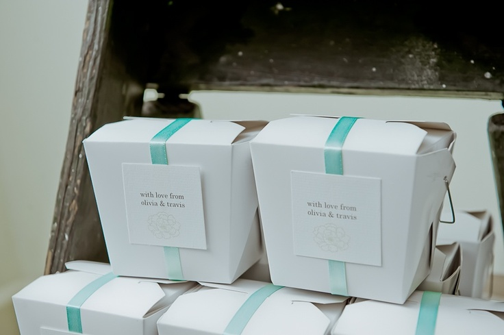 Personalised thank you boxes for guests to take their bomboniere home
