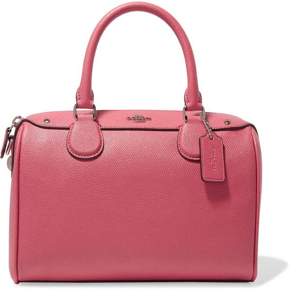 Coach Mini Bennett textured-leather tote (1,020 ILS) ❤ liked on Polyvore featuring bags, handbags, tote bags, pink, zippered tote bag, coach tote, red purse, tote handbags and coach tote bags